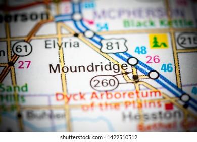 Moundridge. Kansas. USA on a map