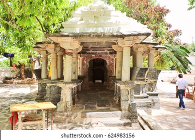 Mount Abu, India - April 7, 2017: Constructed during the 9th century AD Achaleshwar Mahadev temple dedicated to Lord Shiva; only temple where Lord Shiva's Toe is worshiped instead of the Shiv lingam.
