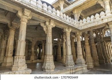Mount Abu, Rajasthan, India, January 11,2020: Historic Dilwara temple interior architecture with view of intricately carved stone pillars with beautiful artwork at Mount Abu, Rajasthan
