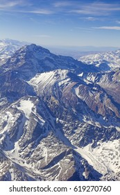 Mount Aconcagua in Mendoza, Andes Mountain Range, border between Argentina and Chile.