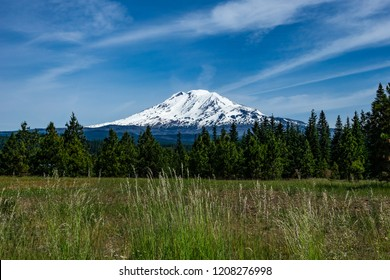 Mount Adams covered with snow on a beautiful day, Cascade Range, Washington state, USA.