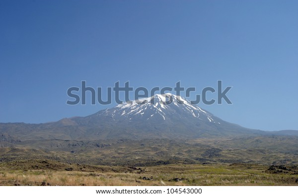 Mount Agri from Eli Village in Dogubeyazit, Turkey. Mount Agri (Ararat) is the highest mountain in Turkey and It is believed that Noah Ark is there.