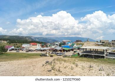 Mount Ai-Petri, Crimea - June 23, 2018: Ohotnichye village on the top of Ai-Petri mountain