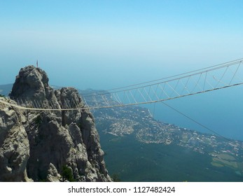 Mount AI-Petri. Crimea. Russia. 24.06.2015. View from the top of AI-Petri on the hanging bridges in the air to the peaks of AI-Petri.