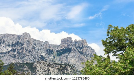 The Mount Ai-Petri in Crimea, Russia. Highest peak in Crimea and tourist attraction. Cloudy sky.