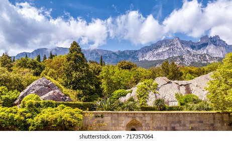 The Mount Ai-Petri in Crimea, Russia. Ai-Petri is one of the highest mountains in Crimea and tourist attraction. Beautiful panoramic view of south coast of Crimea in summer.