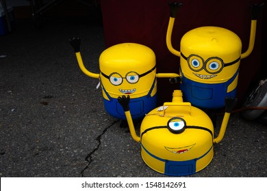 Mount Airy, North Carolina / USA - October 13 2019: Minions made from fuel tanks at a Craft show in Mount Airy, North Carolina .