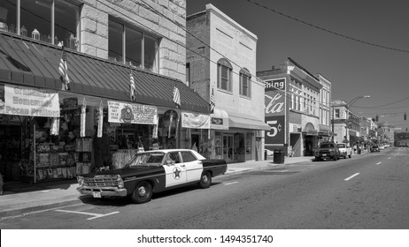"""MOUNT AIRY, NORTH CAROLINA/USA - JULY 28, 2019: Downtown Mount Airy (""""Mayberry"""") from Main Street in Mount Airy, North Carolina. Mt Airy is Andy Griffith's hometown and the inspiration for Mayberry."""