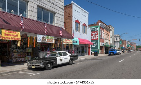 "MOUNT AIRY, NORTH CAROLINA/USA - JULY 28, 2019: Downtown Mount Airy (""Mayberry"") from Main Street in Mount Airy, North Carolina. Mt Airy is Andy Griffith's hometown and the inspiration for Mayberry."