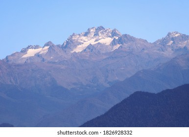 MOUNT ARABICA.  Mount Arabica photographed with a Sony telephoto lens. The height of mount Arabica is 2660 meters. Photo of mount Arabica from the top of Mamdzyshkha. Beautiful mountains of Abkhazia.