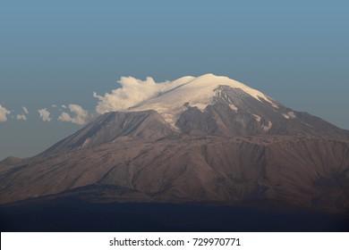 Mount Ararat or Agri Mountain, snowcapped volcanic massif towers over, Eastern Anatolia Region, Turkey, Asia