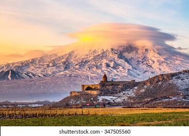 Mount Ararat in Armenia. Sunrise over Ararat in Armenia with Khor Virap Monastery