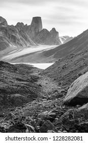 Mount Asgard towering above the landscape in Akshayuk Pass, Nunavut.