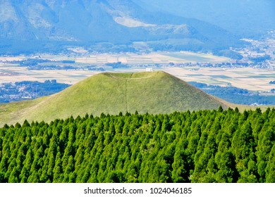 Mount Aso (Aso-san), the largest active volcano in Japan stands in Aso Kuju National Park, Aso (Aso-shi), Kyushu Region,Kumamoto Prefecture, Japan