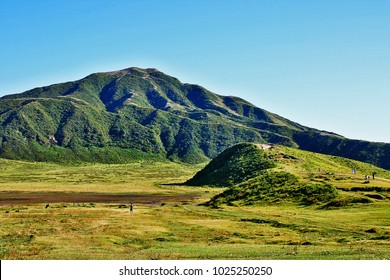 Mount Aso (Aso-san), the largest active volcano in Japan stands in Aso Kuju National Park, Aso (Aso-shi), Kyushu Region,Kumamoto Prefecture, Japan