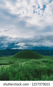 Mount Aso, Japan, during August. It is the largest active volcano in Japan, and is among the largest in the world. It stands in Aso Kujū National Park in Kumamoto Prefecture, on the island of Kyushu.