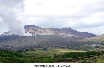 Mount Aso raising volcanic smoke,Aso mountain in spring, Aso mountain in Japan,
