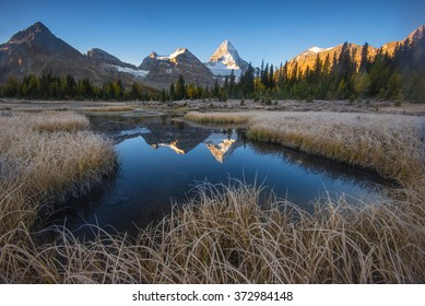 mount Assiniboine morning light and reflection