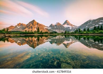 Mount Assiniboine reflection at sunset
