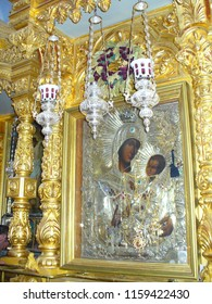 MOUNT ATHOS, GREECE, JULY 14, 2018. Icon of Virgin Mary (Panagia) at the church of Profet Elias Skete.