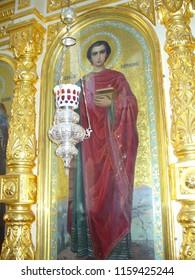 MOUNT ATHOS, GREECE, JULY 14, 2018. Icon of saint Panteleimon (Pantaleon) at the church of Profet Elias Skete.