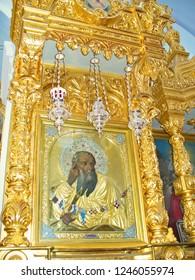 MOUNT ATHOS, GREECE, JULY 14, 2018. Icon of Prophet Elias at the church of Prophet Elias Skete.