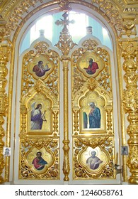 MOUNT ATHOS, GREECE, JULY 14, 2018. Detail of Holy Doors at the iconostasis of the church of Prophet Elias Skete.