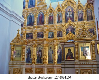 MOUNT ATHOS, GREECE, JULY 14, 2018. View of the huge iconostasis of the church of Prophet Elias Skete.