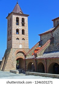 """MOUNT ATHOS, GREECE, JULY 14, 2018. View of """"Protato"""" cathedral church at Karyes, capital town of monastic society of Athos."""