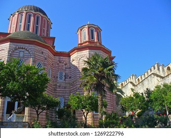 MOUNT ATHOS, GREECE, JULY 14, 2018. View of the church of Xenophontos Monastery at Mount Athos, Greece