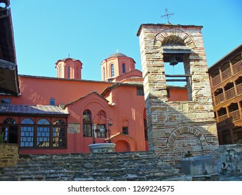 MOUNT ATHOS, GREECE, JULY 14, 2018. View of the church of Xenophontos Monastery from inner court at Mount Athos, Greece