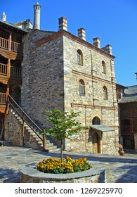 MOUNT ATHOS, GREECE, JULY 14, 2018. View of inner court of Xenophontos Monastery at Mount Athos, Greece