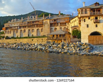 MOUNT ATHOS, GREECE, JULY 14, 2018. View of Xenophontos Monastery from the sea at Mount Athos, Greece