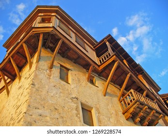 MOUNT ATHOS, GREECE, JULY 14, 2018. View of a bulding for guests at Xenophontos Monastery at Mount Athos, Greece