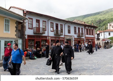 Mount Athos, Greece - July 5, 2016: Monks and believers in Karyes Mount Athos. Karyes is the capital of Mount Athos monastic community.