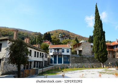 MOUNT ATHOS, GREECE - OCTOBER 27, 2018: Kayes city at at Holy Mount Athos