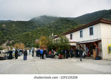 Mount Athos, Greece - October 31, 2018: Dafni port on Holy mountain Athos