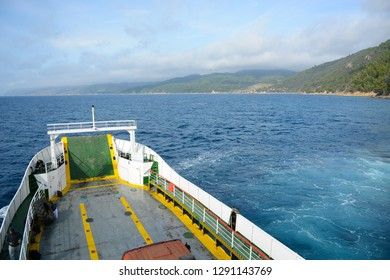 Mount Athos, Greece - October 31, 2018: Sea view from the ferry aariving to Dochiariou Monastery on Holy mount Athos