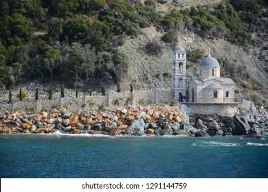 Mount Athos, Greece - October 31, 2018: Dochiariou Monastery on Holy mount Athos