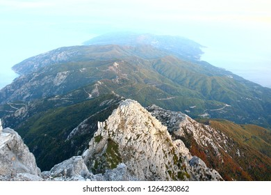 Mount Mount Athos, with the temple and the main Athos cross