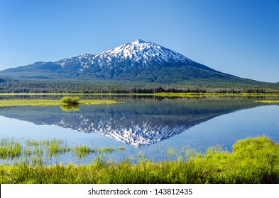 Mount Bachelor being reflected in Sparks Lake near Bend, Oregon
