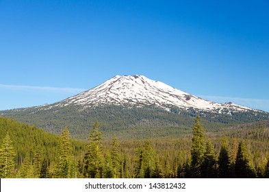 Mount Bachelor near Bend, Oregon in the early summer with a lot of snow still on the top