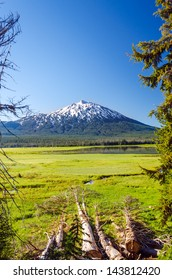 Mount Bachelor as seen through a clearing of trees near Bend, Oregon