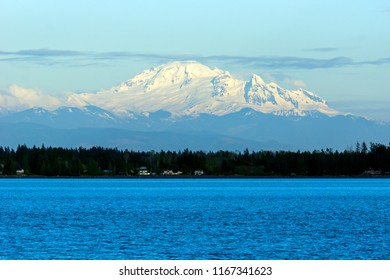 Mount Baker, an active glaciated andesitic stratovolcano in the Cascade Volcanic Arc and the North Cascades of Washington, viewed from Semiahmoo Park near Blaine, Washington