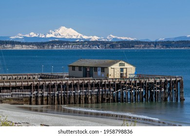 Mount Baker and dock view in Port Townsend, Washington