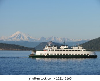 Mount Baker With Ferry in Foreground