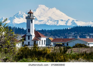 Mount Baker and lighthouse in Port Townsend, Washington