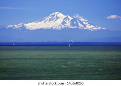 Mount Baker seen from the Gulf Islands in Canada