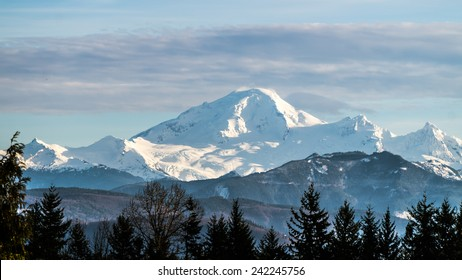 Mount Baker in Washington State seen from the Fraser Valley in British Columbia