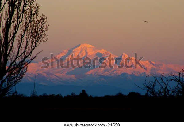 Mount Baker,WA at Sundown, view from the west